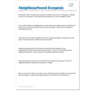 Neighbourhood Exegesis Document